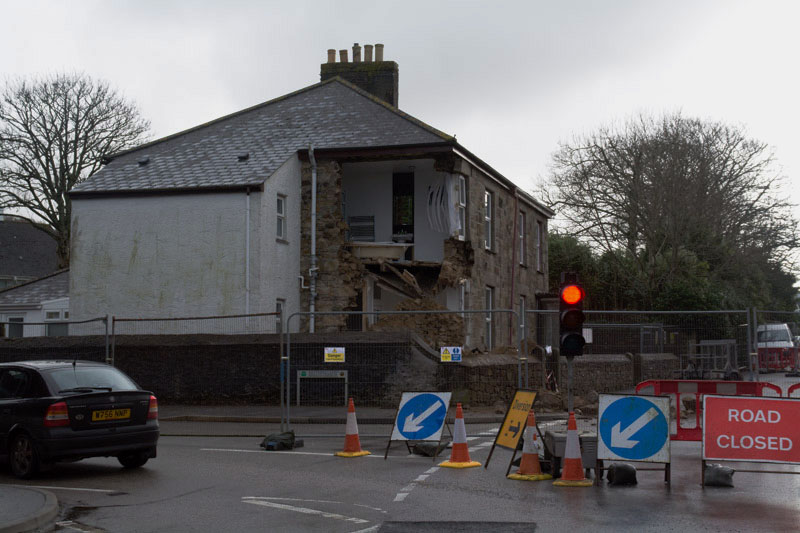 House in Camborne collapses into hole in ground